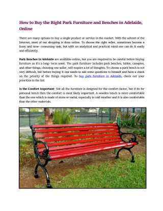 Buy Park Furniture and Benches in Adelaide