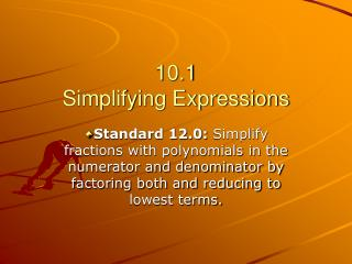 10.1 Simplifying Expressions