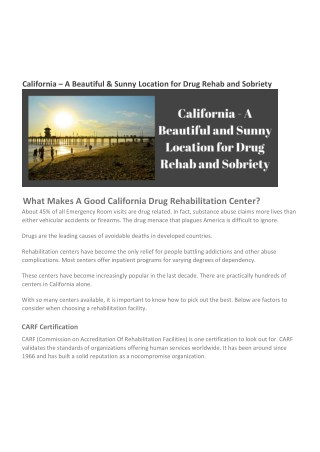 California - A Beautiful & Sunny Location for Drug Rehab and Sobriety