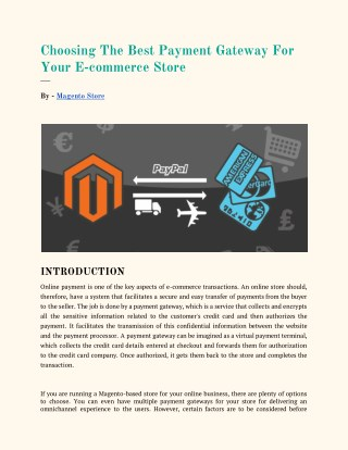 Choosing The Best Payment Gateway For Your E-commerce Store