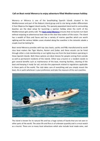 Call on Boat rental Menorca to enjoy adventure filled Mediterranean holiday
