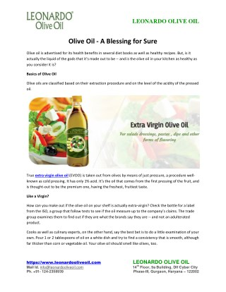 Olive Oil - A Blessing for Sure