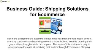 Business Guide: Shipping Solutions for Ecommerce