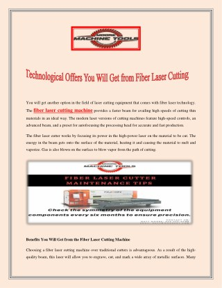 Technological Offers You Will Get from Fiber Laser Cutting