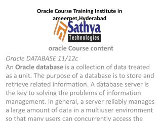 Oracle course training institute ameerpet Hyderabad