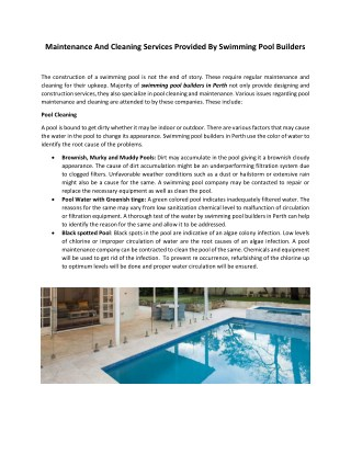 Swimming Pool Builders Perth