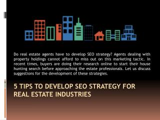 5 Tips To Develop Seo Strategy For Real Estate Industries