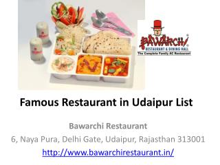 Famous Restaurant in Udaipur List