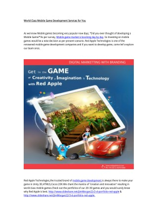 Famous Mobile Game Development Company in India-Red Apple