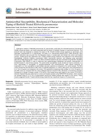 Antimicrobial Susceptibility, Biochemical Characterization and Molecular Typing of Biofield Treated Klebsiella pneumonia