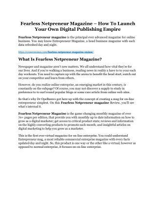 Fearless Netpreneur Magazine review & Fearless Netpreneur Magazine $22,600 bonus-discount