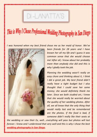 This is Why I Chose Professional Wedding Photography in San Diego