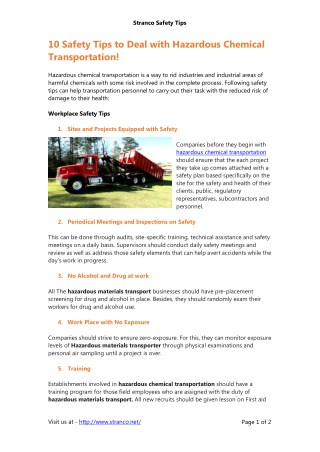 Safety Tips to Deal with Hazardous Chemical Transportation!