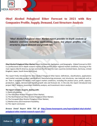 Oleyl Alcohol Polyglycol Ether Forecast to 2021 with Key Companies Profile, Supply, Demand, Cost Structure Analysis
