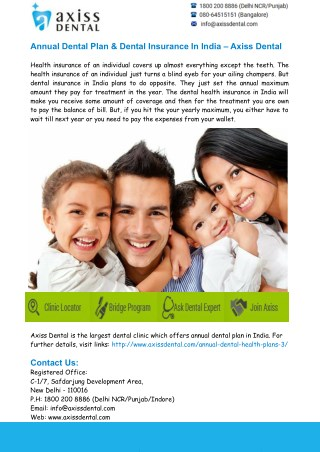 Dental Insurance in India– Axiss Dental