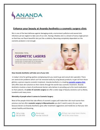 Enhance your beauty at Ananda Aesthetics a cosmetic surgery clinic