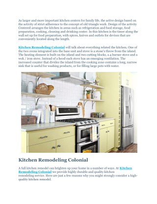 Kitchen Remodeling Colonial