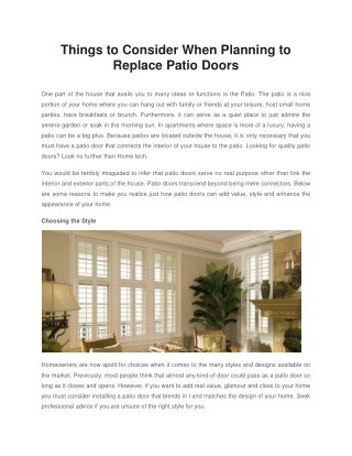 Things to Consider When Planning to Replace Patio Doors