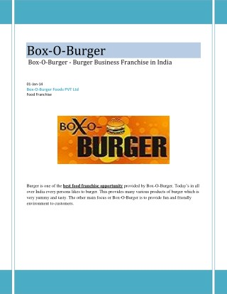 Box-O-Burger - Burger Business Franchise in India
