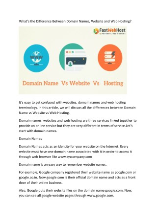 the Difference Between Domain Names,Website and Web Hosting