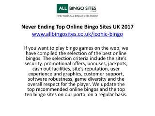 Never Ending Top Online Bingo Sites UK 2017
