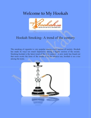 Online Hookah and Hookah Charcoal Online presented by myhookah.ca