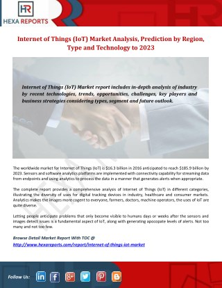 Internet of Things (IoT) Market-Manufacturers, Suppliers & Exports Research Report and Forecast to 2023