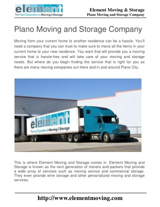Plano Moving and Storage Company