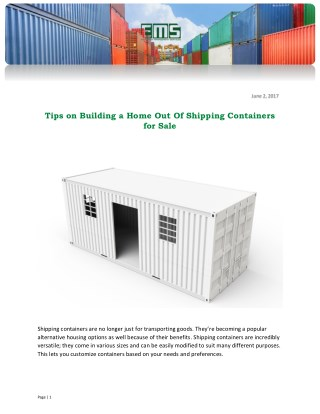Tips on Building a Home Out Of Shipping Containers for Sale