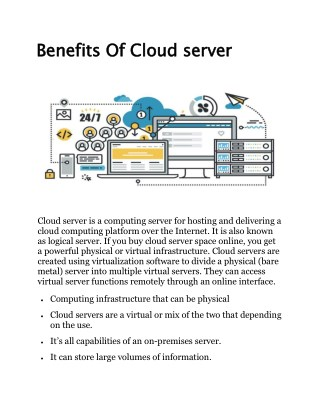 Benefits Of Cloud server
