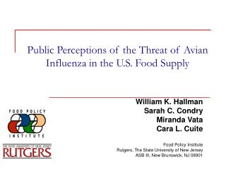 Public Perceptions of the Threat of Avian Influenza in the U.S. Food Supply