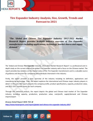 Tire Expander Industry Analysis, Size, Growth, Trends and Forecast to 2021