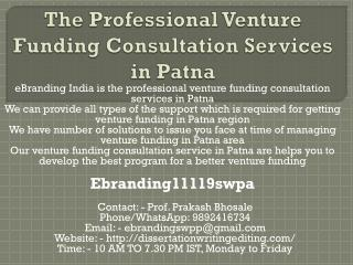 The Professional Venture Funding Consultation Services in Patna