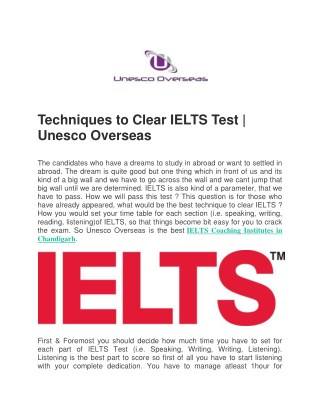 IELTS Coaching Institutes & Centers | Unesco Overseas