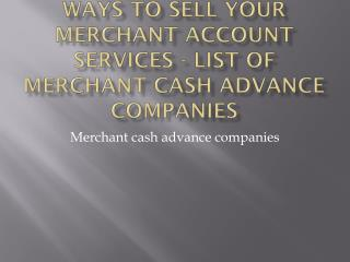 Why Do You Need A Merchant Account - list of merchant cash advance companies