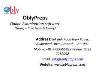 Online Exam Software, Online Test Series Examination Solution -Obly Preps