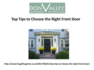 Top Tips to Choose the Right Front Door