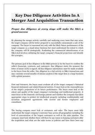 Key Due Diligence Activities In A Merger And Acquisition Transaction