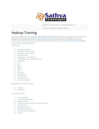 Best Hadoop course training in Hyderabad