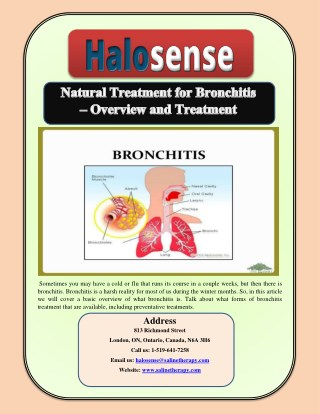 Natural Treatment for Bronchitis – Overview and Treatment
