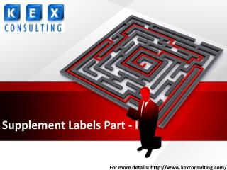 Supplement Labels Part - I