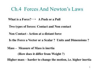 Ch.4  Forces And Newton's Laws