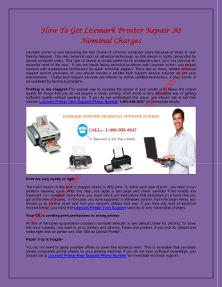 Lexmark Printer Technical Support Number 1-800-956-0247