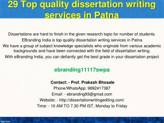 29 Top quality dissertation writing services in Patna