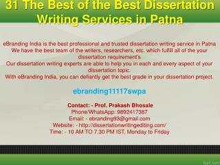 31 The Best of the Best Dissertation Writing Services in Patna