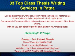 33 Top Class Thesis Writing Services in Patna
