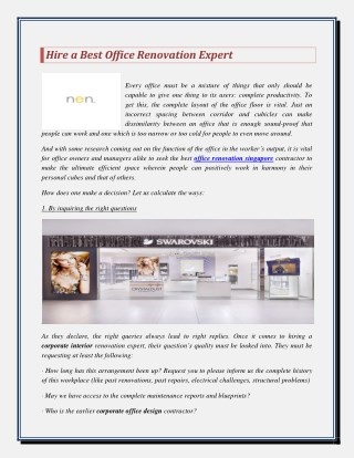 Hire a Best Office Renovation Expert
