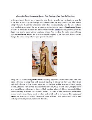 Choose Designer Readymade Blouses That Can Add a New Look To Your Saree