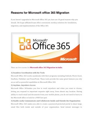 Reasons For Microsoft Office 365 Migration