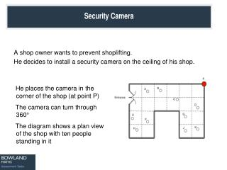 A shop owner wants to prevent shoplifting.  He decides to install a security camera on the ceiling of his shop.
